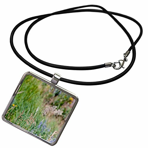 3dRose Jos Fauxtographee Realistic - A Weed Floating in the Wind on a Grassy Weed Backdrop with Spots of Blue and Yellow - Necklace With Rectangle Pendant (ncl_47445_1)