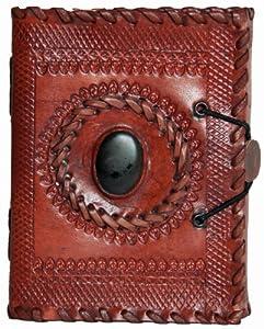 INDIARY Luxusnotizbuch Tagebuch aus echtem Büffelleder und handgeschöpften Papier 15,5x11,5 - Black Stone