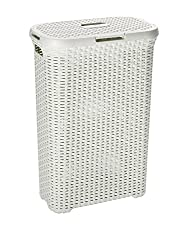 Curver 709 Off White 40L Slim Rattan-Look Laundry Basket