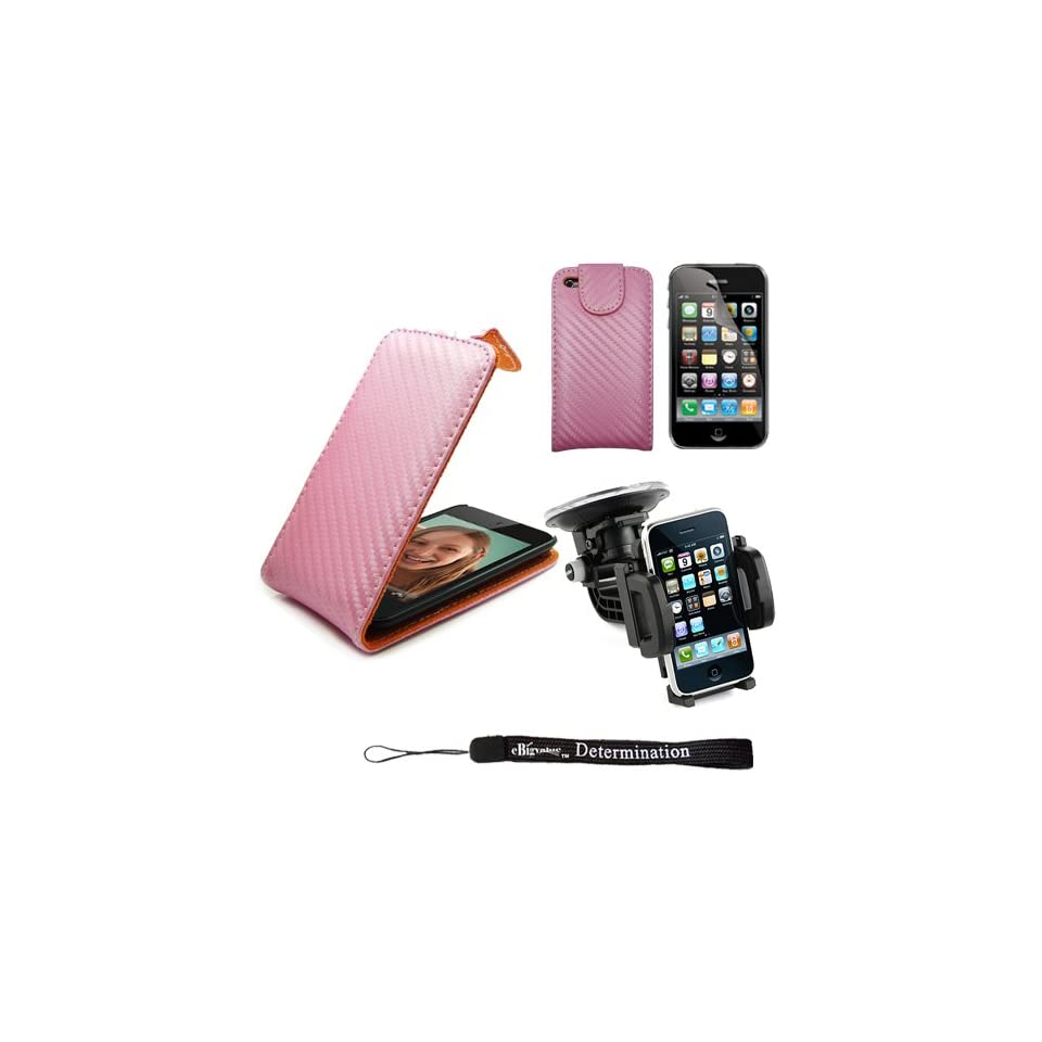 Protective Durable Stylish Synthetic Leather Case for Apple iPod Touch 4G 4th Generation (Fits perfect with all iPod Touch 4 Models) + Includes a High Quality and Durable Anti Glare Screen Protector + Includes a iPod Touch 4, 360° Rotatable Windshield Mou
