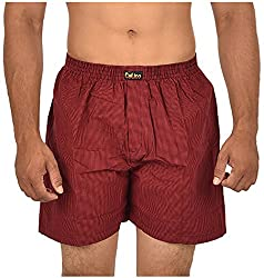 CALICO Men's Cotton Boxers (CAL_26_M, Red and Black, M)