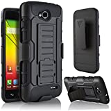 LG Optimus L90 Case, Starshop LG Optimus L90 [T-Mobile] Hybrid Full Protection High Impact Dual Layer Holster Case with Kickstand and Locking Belt Swivel Clip Black
