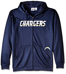 NFL San Diego Chargers Men's Full Zip Poly HD Sweatshirt, 2X/Tall, Navy