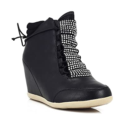 Amazon.com: Liliana Tasha Rhinestone Bow Tie Wedge Sneakers BLACK