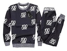 Roseate Unisex 3D Emoji 100 Scores Sweatsuits Sweatpants Shirt Joggers Black S