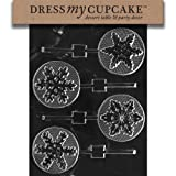 Dress My Cupcake Chocolate Candy Mold Assorted Snowflakes Lollipop Christmas