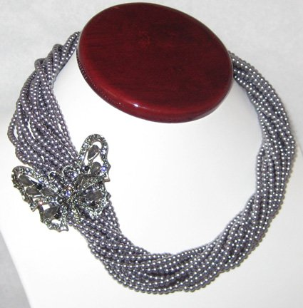 13 Row Pearl Torsade Necklace with Removable Rhinestone Butterfly Brooch and Megnect Closure