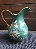 Ceramic Decorative Beautiful Curved Pitcher or Vase (Vintage green)