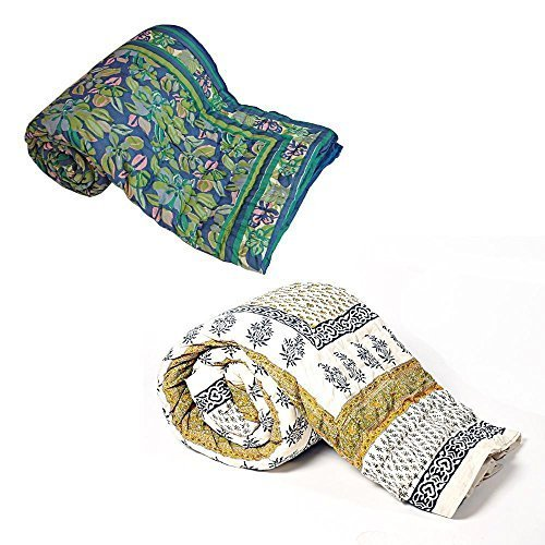 Jaipuri diseño de Little India 2 piezas Juego de funda de edredón doble Razai algodón azul y blanco
