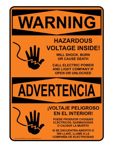 Compliancesigns Aluminum Osha Warning Sign, 14 X 10 In. With Electrical Voltage Info In English + Spanish, Orange