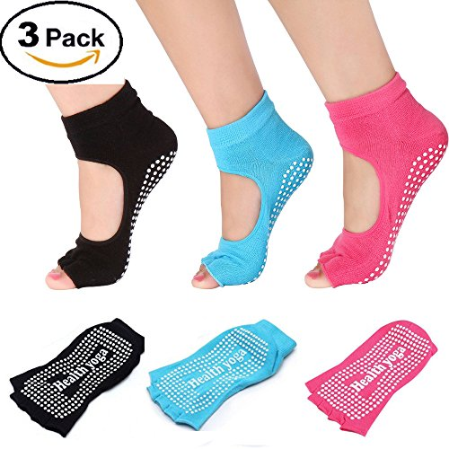 SPO4u 3 Pairs Women's Ballet Grip Sock for Barre Pilates Yoga (Black+Blue+Pink)