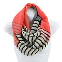 AN - Lightweight Nautical Striped Colorblock Infinity Circle Scarf Snood Loop (Pink)