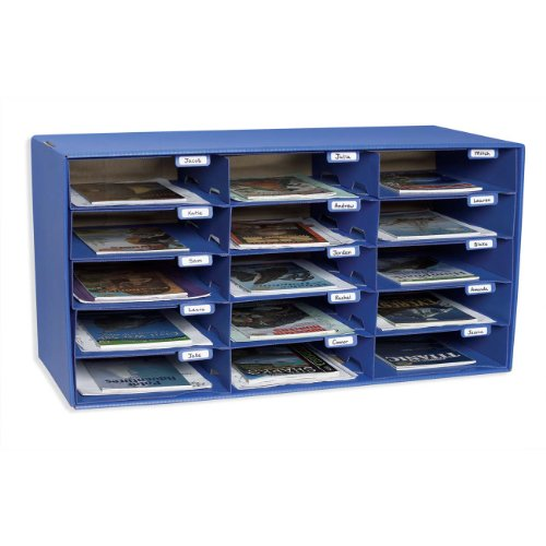 Pacon 70% Recycled Mailbox Storage Unit, 15 Slots, Blue (1308)