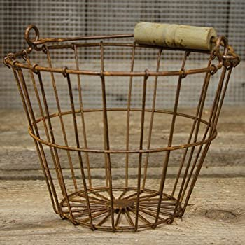 "Wire Egg Basket 6""H 8""Dia Rust"