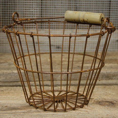 "Wire Egg Basket 6""H 8""Dia Rust 0"