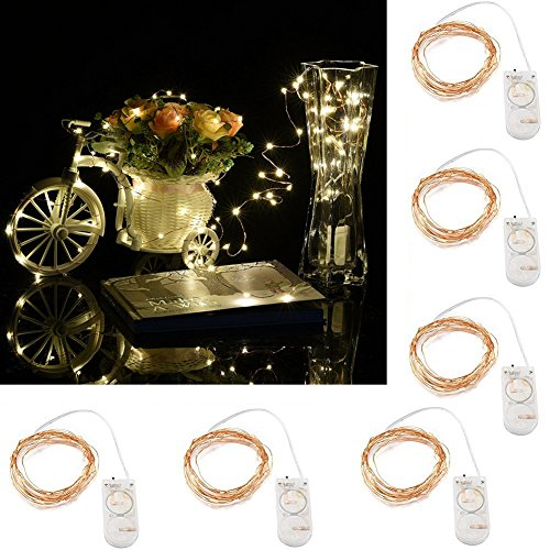 [LED String Lights,Pack of 6 Micro Lights with 20 Fairy Bright LEDs on 2M Waterproof Copper Wire,Battery Powered(Included),Best Decorative Lights for Home Party Christmas Table (Warm] (Cosplay Costume Making)