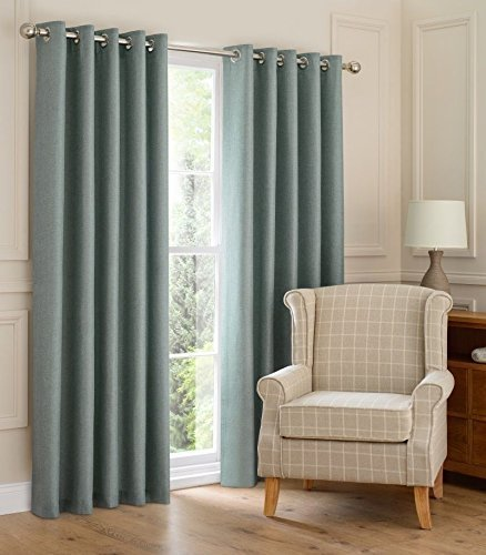 Ring Top Thick Heavy Fully Lined Curtains Weaved Woven Linen Look Reef Duck Egg Blue 46x90 Inches 114cmx229cm Drop Ready Made Drapes By HOME EXPRESSIONS