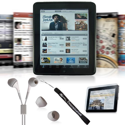 Apple iPad Black Silicon Skin Case + Includes a 4-inch eBigValue (TM) Determination Hand Strap + Anti-Glare Screen Protector for IPad Tablet (All Models) + Fashion Earbud Headset Headphones 3.5mm In-Ear Stereo ( White )
