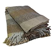 Patchwork Blanket Grey & Brown Lambswool Made in Ireland