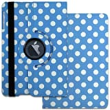 Blue & White Polka Dot XYLO-SMART 360 Degree Rotating Leather Wallet Case / Folio Cover & Viewing Stand for the Apple iPad Mini & iPad Mini 2. Includes ClearICE Screen Protector & Mini Stylus.