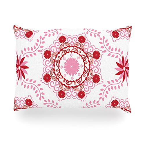 "Kess Inhouse Anneline Sophia ""Let'S Dance Red"" Pink Floral Oblong Rectangle Outdoor Throw Pillow, 14 By 20-Inch front-990599"
