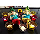 TiedRibbons® Home Decoration Set Of 2 Ganpati Idol With Tealight Holders(Multicolor,Resin) And Tealight Candles