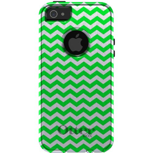 Special Sale CUSTOM OtterBox Commuter Series Case for iPhone 5 5S - Chevron Stripes Zig Zag (White & Green)