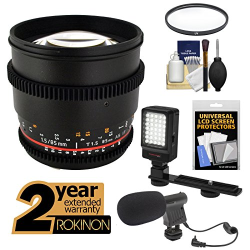 Rokinon 85Mm T/1.5 Cine As If Mf Telephoto Lens With 2 Year Ext. Warranty + Filter + Led Video Light + Microphone Kit For Nikon D3200, D3300, D5200, D5300, D7100, D610, D800, D4S Cameras