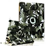 SANOXY® 360 Degrees Rotating Stand PU Leather Case for iPad 2/3/4, iPad 2nd generation (iPad 2/3/4 CAMOUFLAGE ARMY GREEN) by SANOXY