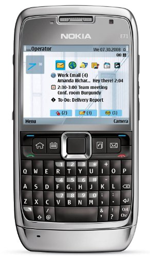 51JxsGgfL%2BL Nokia E71 Unlocked Phone with 3.2 MP Camera, 3G, Media Player, GPS Navigation, Free Voice Navigation, Wi Fi, and MicroSD Slot  with Warranty (Gray)