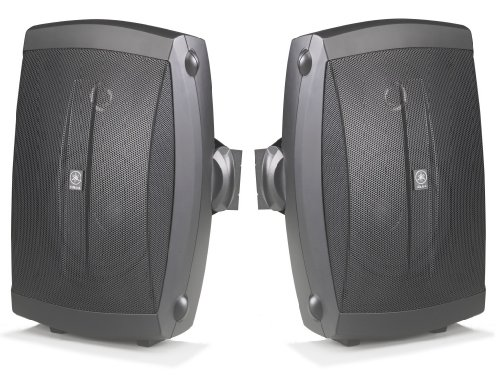 "Yamaha All Weather Indoor & Outdoor Wall Mountable Natural Sound 130 Watt 2-Way Acoustic Suspension Speakers (Set Of 2) Black With 6.5"" High Compliance Woofer, 1"" Pei Dome Tweeter & Wide Frequency Response - Compatible With All Audio / Video Receivers, Co"