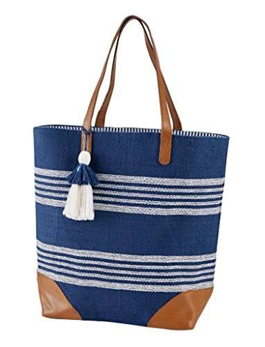 Mud Pie Bombay Canvas Tote Bag Purse Straps Pockets Travel Beach Shopping Blue Leather (Mud Pie Leather Tote compare prices)
