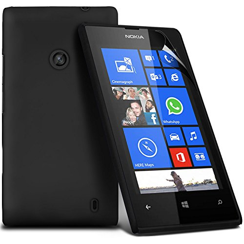 ( Black ) Nokia Lumia 530 Premium Hybrid Hard Back Shell Skin Case Cover With Lcd Screen Protector Guard By Fone-Case