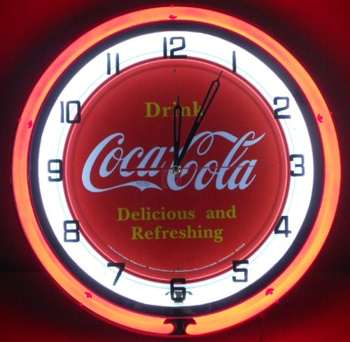 "Coca Cola 18"" Double Neon Light Chrome Clock Bottle Retro Tin Sign Vintage Button Style Red front-73142"