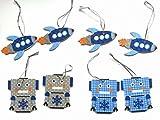 Mini Christmas Ornament Set ~ Robots