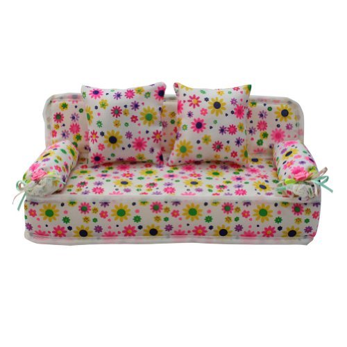 ReFaXi Lovely Miniature Furniture Flower Print Sofa Couch With 2 Cushions For Barbie Flower, 8.50cm - 1