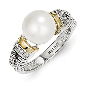 IceCarats Designer Jewelry Size 6 Sterling Silver W/14K Diamond Fw Cultured Pearl Ring