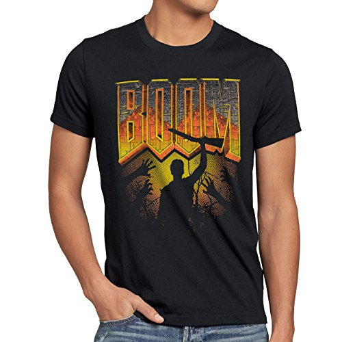 style3 Boom T-shirt da uomo sparatutto pc doom quake fps multiplayer, Dimensione:M