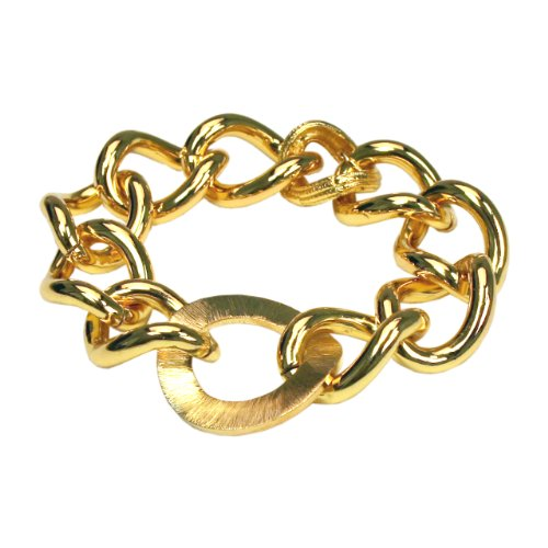 Stainless Steel Gold-Plated Large Chain Link Bracelet, 8.5