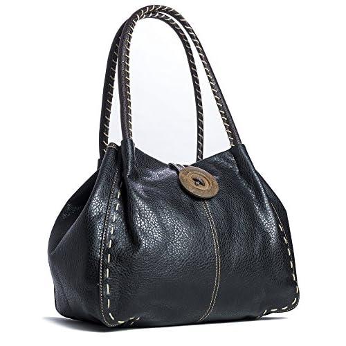 Big Handbag Shop Designer Boutique Faux Leather Button Detail Handbag