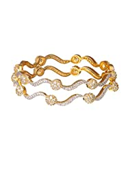 Sheetal Jewellery Silver & Golden Brass & Alloy Bangle Set For Women - B00TIH31Y8