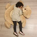 Plush Bear PlayMat Teddy Bear Crawling Carpet Stuffed Animals Playmat 35 Inches Brown By HollyHOME (Color: Brown)