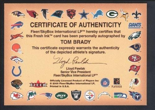 Tom Brady 2000 Fleer Tradition Rc Rookie Autographics Autograph Sp Auto Mint - NFL Autographed Rookie Cards 2015 bowman baseball cards hobby box 24 packs box 10 cards pack 1 rookie autograph per box april 29th release