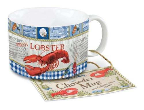Coastal Red Lobster Feast Harborside Chowder Soup Bowl Mug