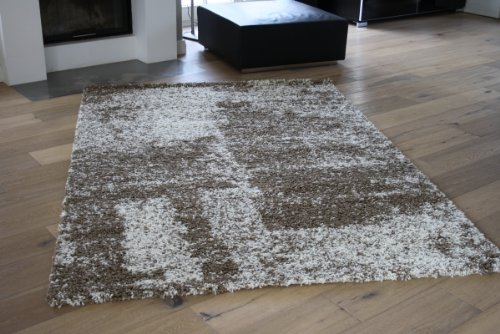 Hochflorteppich SHAGGY meliert (natur, 133 x 170 cm)