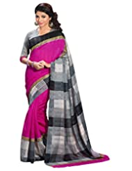 Gehna Black And White Checkered Print With Pink Colour Saree_GS_VF_11955