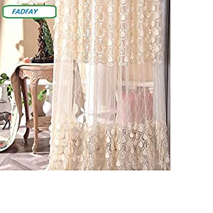 Fadfay luxury living room embroidered sheer tulle curtains set of 2 panels - Amazon curtains living room ...