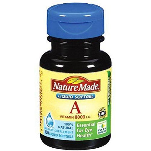 Nature Made de vitamine A, 8000 UI, 100 gélules