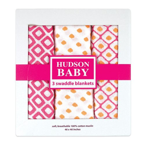 Pink Muslin Swaddle Blankets by Hudson Baby