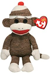 Ty Beanie Baby - Socks the Sock Monkey Brown